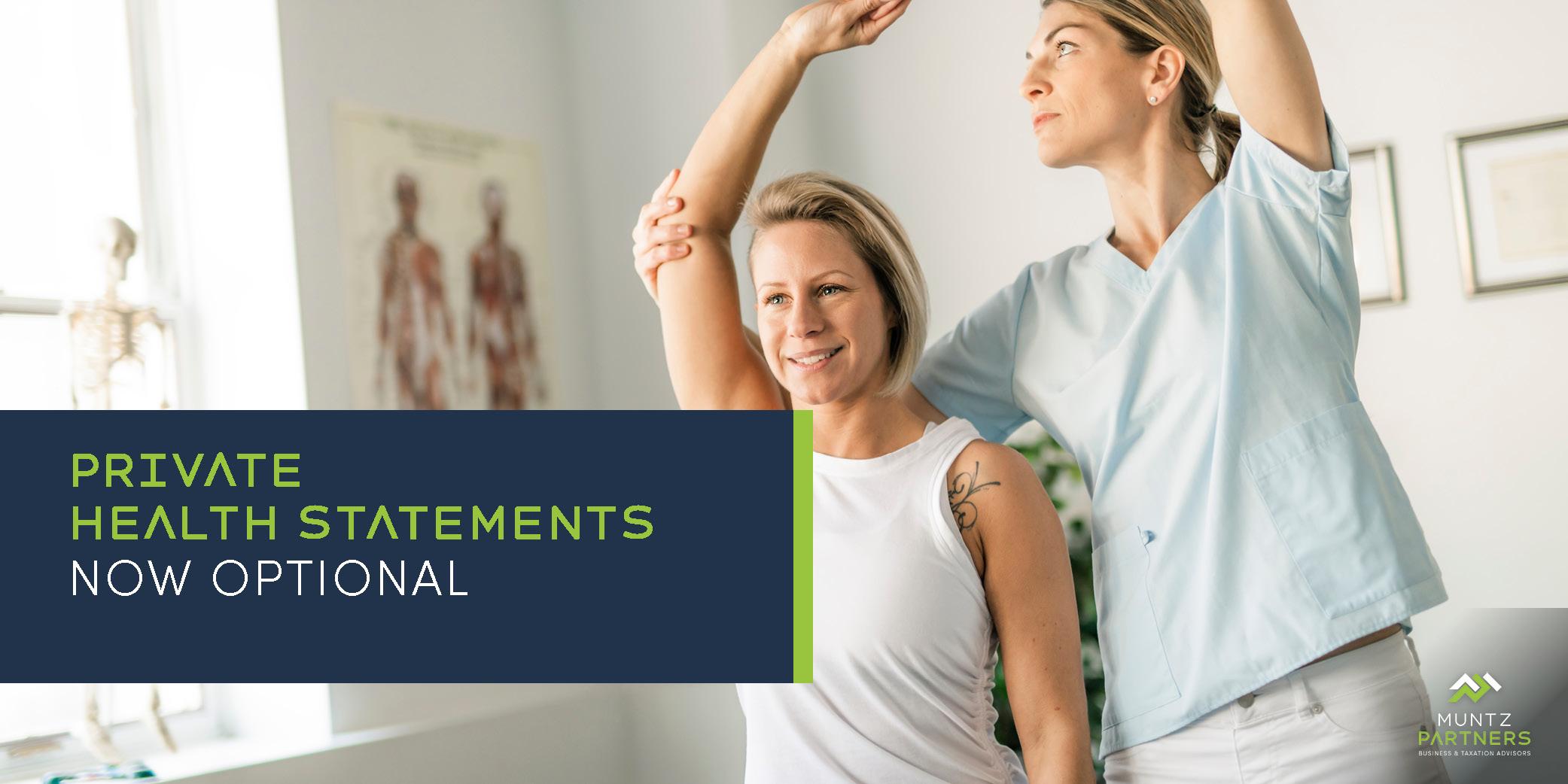 Private health insurance statements now optional - Muntz Partners
