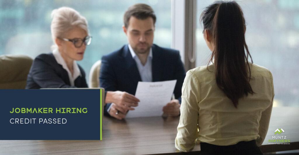 JobMaker Hiring Credit passed | Muntz Partners