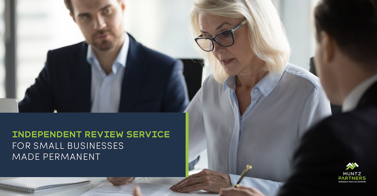 Independent review service for small businesses made permanent | Muntz Partners
